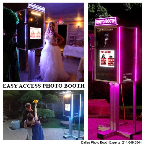 Dallas Photo Booth Experts offers open style Easy Access Photo Booth for rent in DFW area